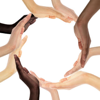 A conceptual symbol of multiracial human hands making a circle Conceptual symbol of multiracial human hands making a circle