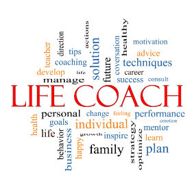A word cloud of Life Coach terms.